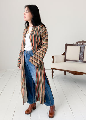 Vintage Turkmen Striped Duster Jacket