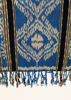 Vintage Blue Woven Ikat Bed Cover