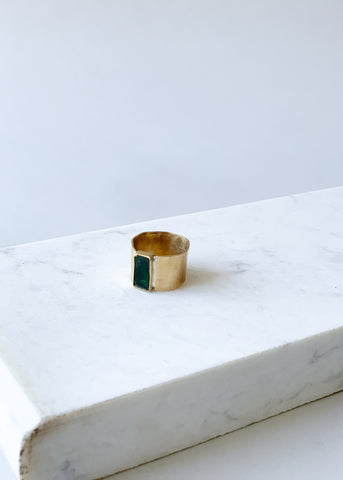 Emerald Glass Cigar Band Ring