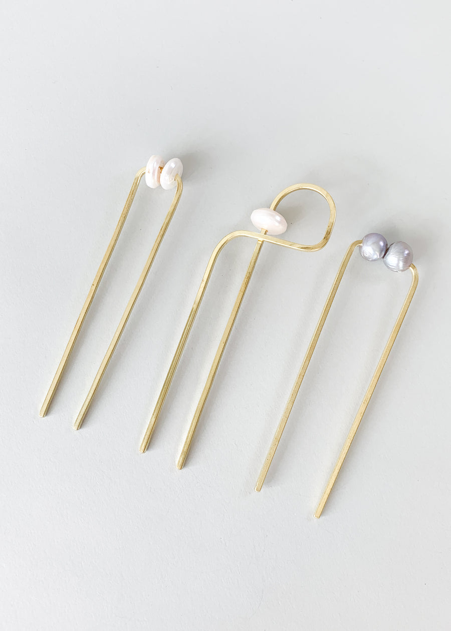 Abstract Pearl and Brass Hair Fork