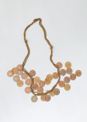 Vintage Brass Dangles Statement Necklace