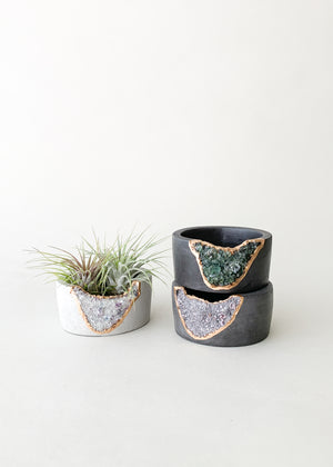 Small Geode & Concrete Planter