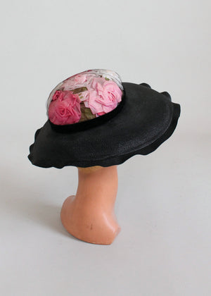 Vintage 1950s Rose Garden Wide Brim Hat