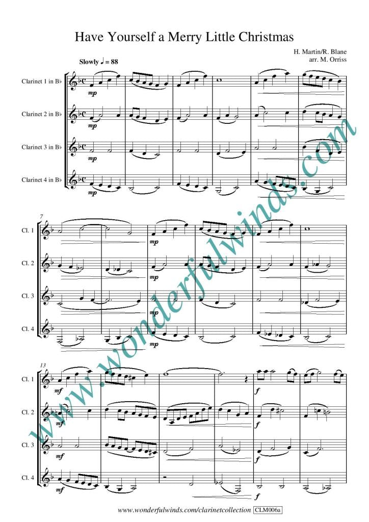 Have Yourself A Merry Little Christmas Sheet Music.Clm006a Have Yourself A Merry Little Christmas Martin H Blane R