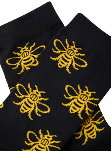 Black Manchester Bee Adult Socks - The Manchester Shop