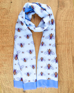 Blue Printed Bee Scarf - The Manchester Shop