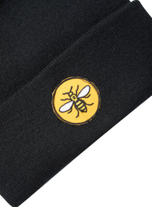 Circle Bee Patch Black Beanie - The Manchester Shop