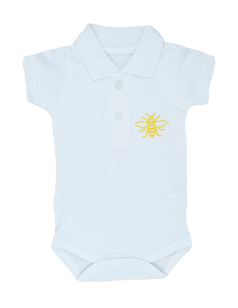 White Manchester Bee Polo Shirt Baby Grow - The Manchester Shop