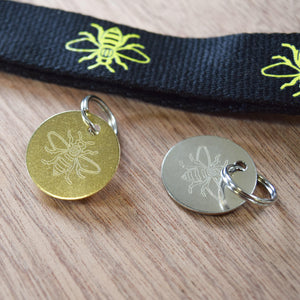 Engraved Manchester Bee Metal Pet Collar Tag