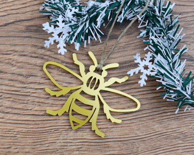 Acrylic Manchester Bee Christmas Ornament