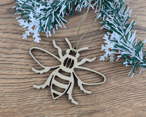 Wooden Manchester Bee Christmas Ornament