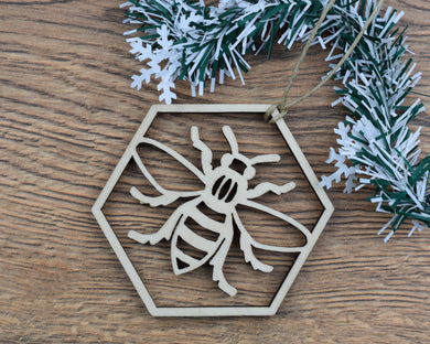 Wooden Hexagon Bee Christmas Ornament