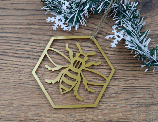 Acrylic Hexagon Bee Christmas Ornament - The Manchester Shop