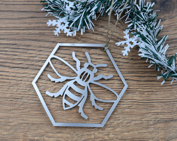 Acrylic Hexagon Bee Christmas Ornament