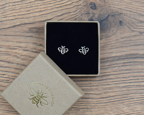 Sterling Silver Worker Bee Earrings - The Manchester Shop