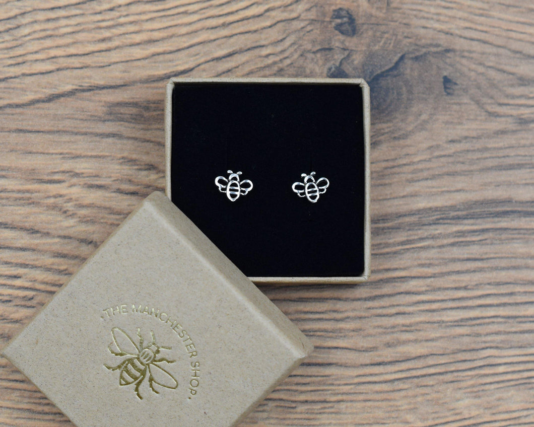 SILVER CUT OUT BEE STUDS