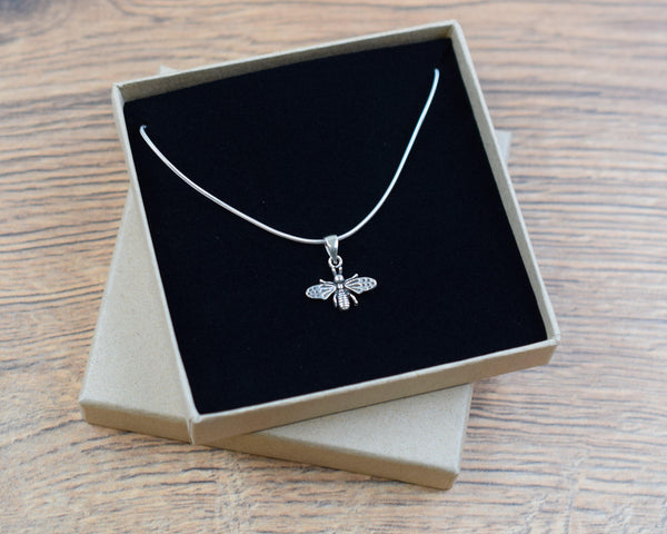Silver Bee Charm Necklace - The Manchester Shop