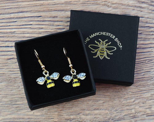 Diamanté Wing MCR Worker Bee Earrings - The Manchester Shop
