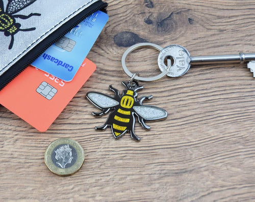 Glitter Bee Metal Keyring - The Manchester Shop