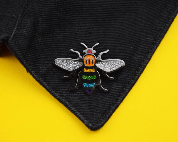 Glitter Rainbow Manchester Bee Pin - The Manchester Shop