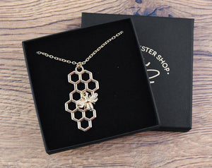 Gold Honeycomb with Bee Charm Necklace - The Manchester Shop