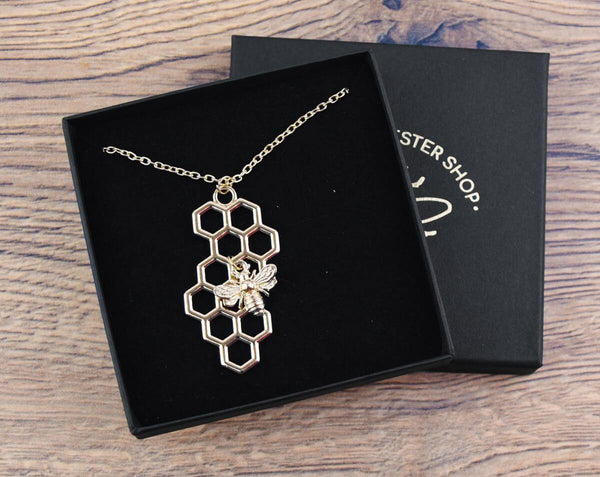 Gold Honeycomb with Bee Charm Necklace