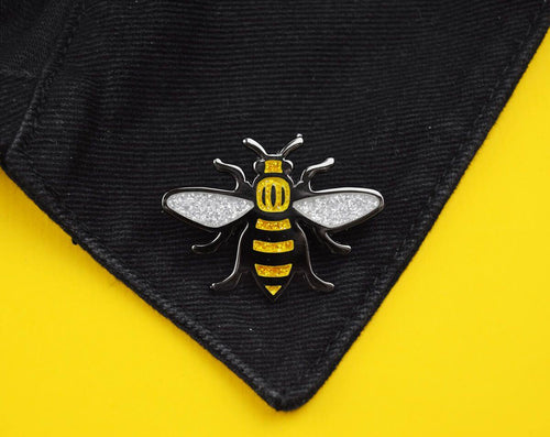 Gold Glitter Manchester Bee Pin - The Manchester Shop