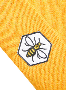 Hexagonal Bee Patch Mustard Beanie - The Manchester Shop
