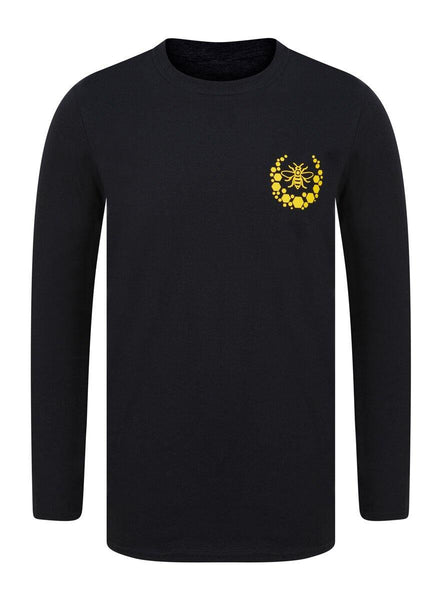 Honeycomb Bee Crest Black Long Sleeve T-Shirt - The Manchester Shop