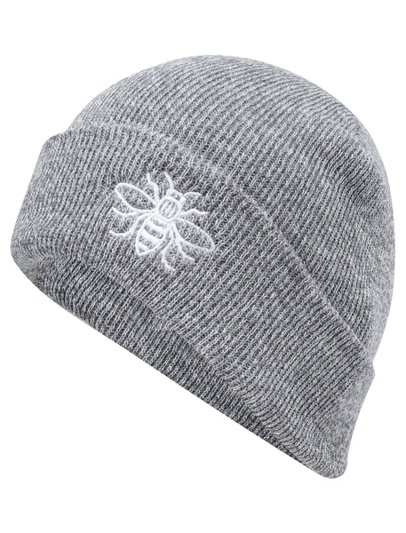 Grey Embroidered Manchester Bee Beanie - The Manchester Shop