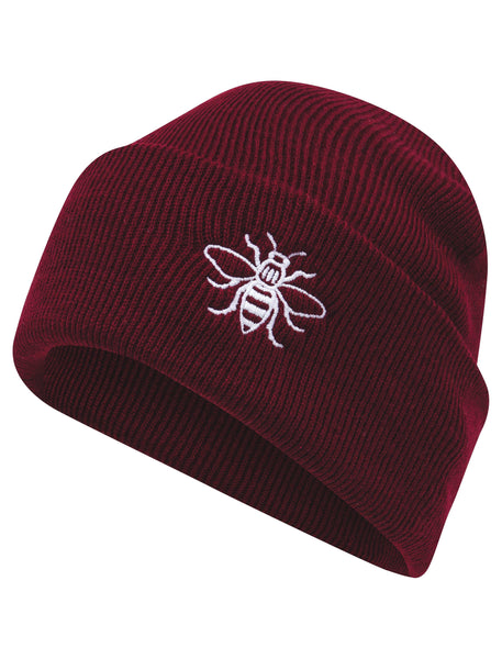 Maroon Embroidered Manchester Bee Beanie - The Manchester Shop