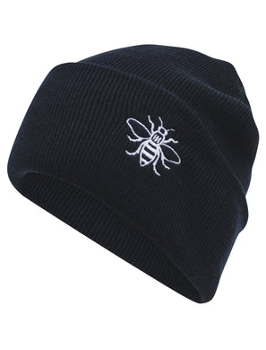 Black Embroidered Manchester Bee Beanie