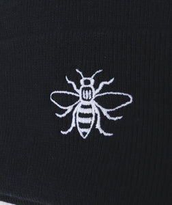 Black Embroidered Manchester Bee Beanie - The Manchester Shop
