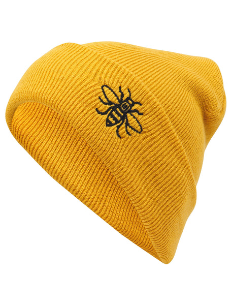 Mustard Embroidered Manchester Bee Beanie - The Manchester Shop