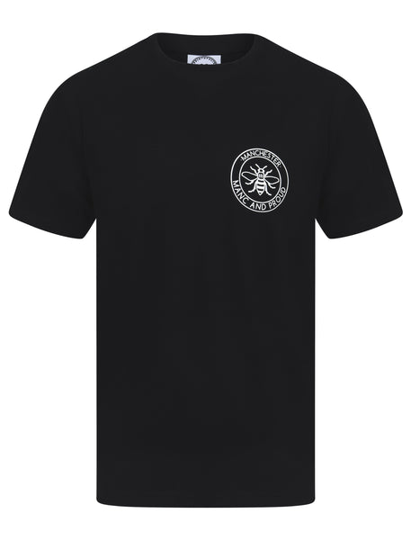 Manc & Proud Logo Pocket Black T-Shirt