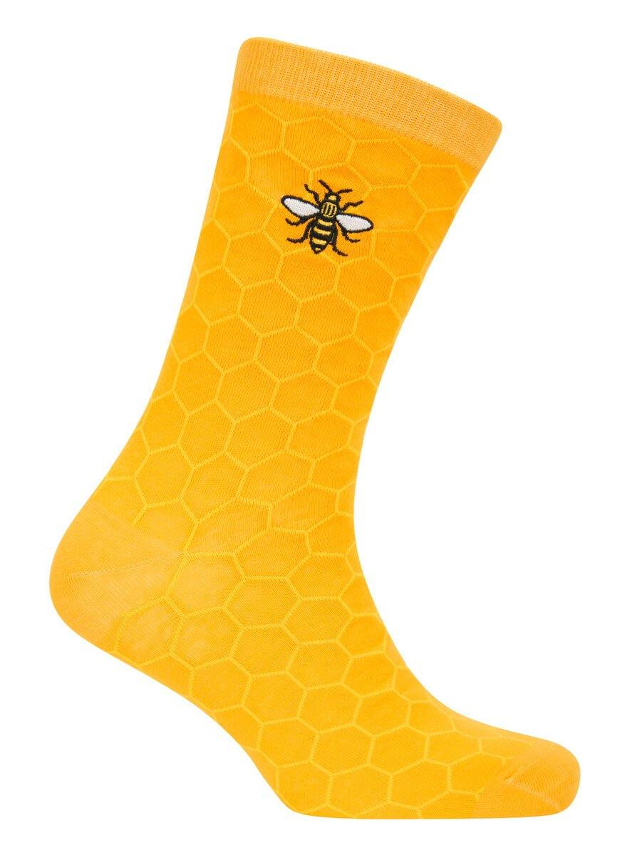Mustard Honeycomb Bee Socks - The Manchester Shop