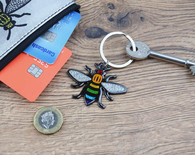 Rainbow Bee Keyring - The Manchester Shop