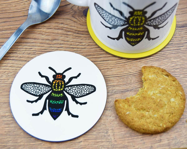 Rainbow Manchester Bee Coaster - The Manchester Shop