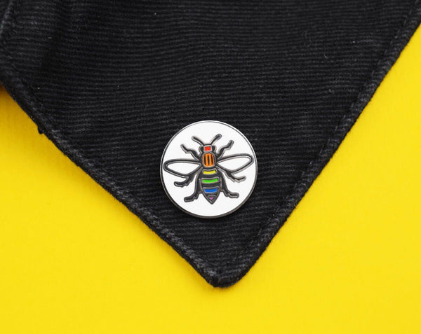 Rainbow Manchester Bee Pin - The Manchester Shop