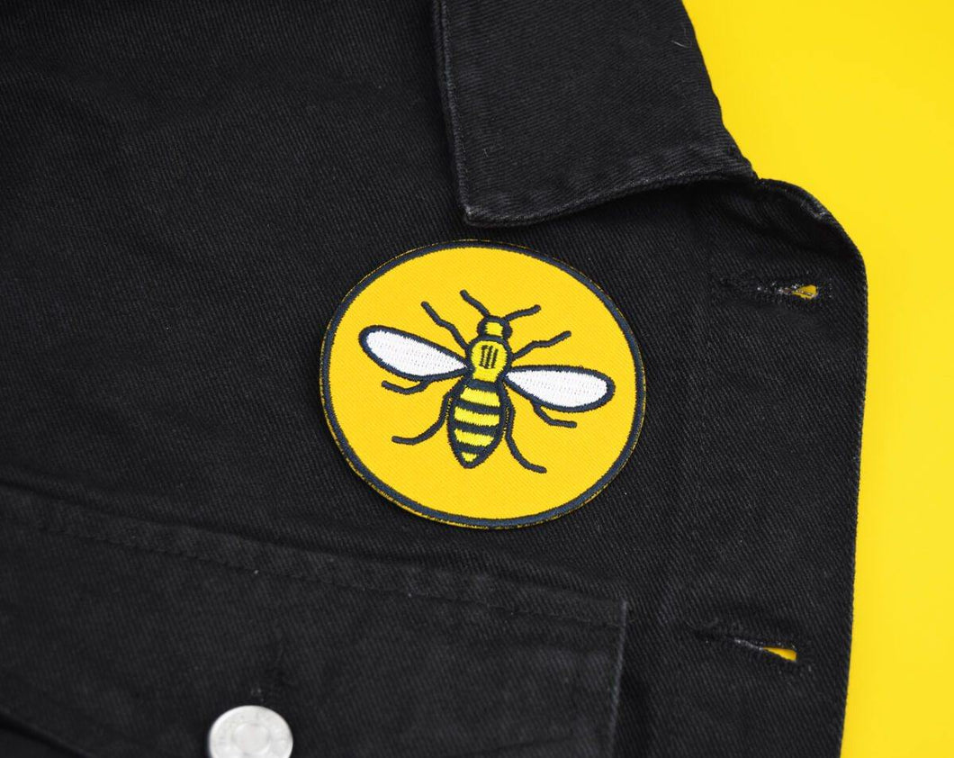 Round Yellow Manchester Bee Patch - The Manchester Shop