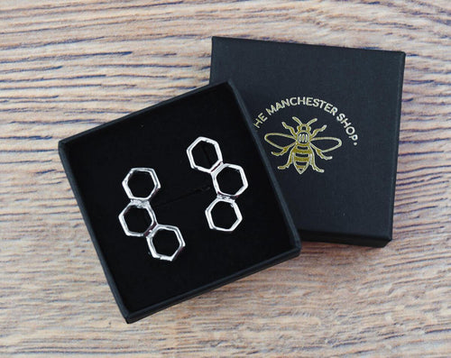 Silver Honeycomb Stud Earrings - The Manchester Shop