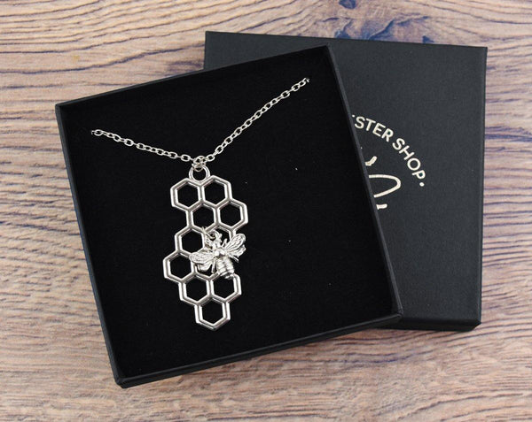 Silver Honeycomb Pendant with Bee Charm Necklace