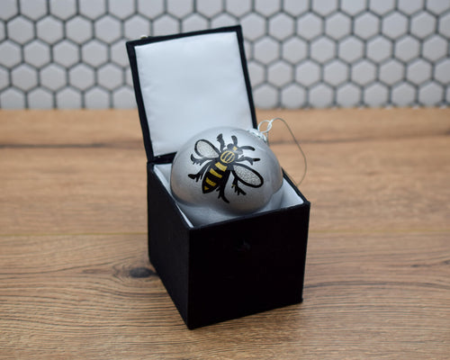 Silver Hand painted Glass Bee Bauble
