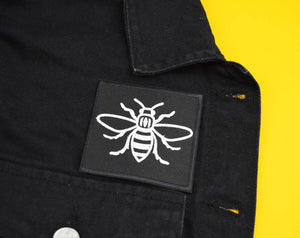 Square White Manchester Bee Patch - The Manchester Shop