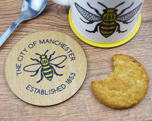 Manchester Established 1853  Wooden Coaster - The Manchester Shop