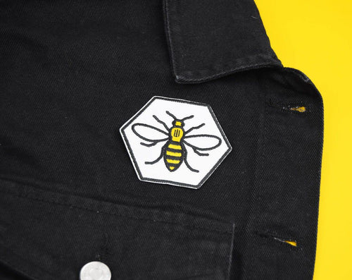White Hexagon Manchester Bee Patch - The Manchester Shop