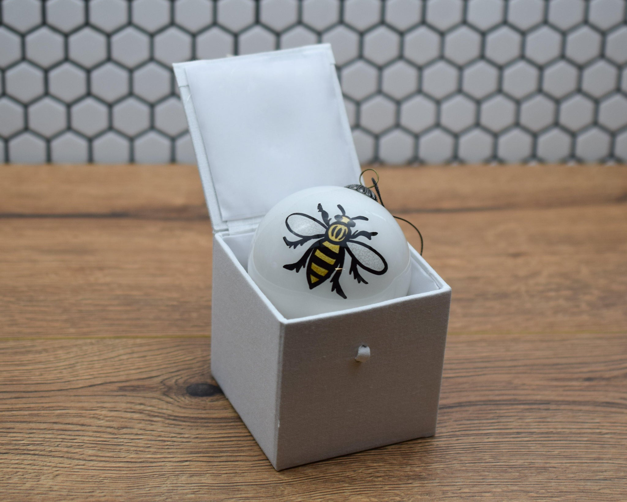 White Hand Painted Glass Bee Bauble - The Manchester Shop