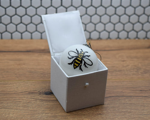 White Hand painted Glass Bee Bauble