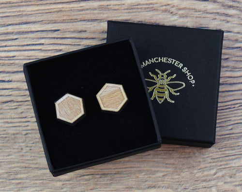 Wooden Hexagon Stud Earrings - The Manchester Shop