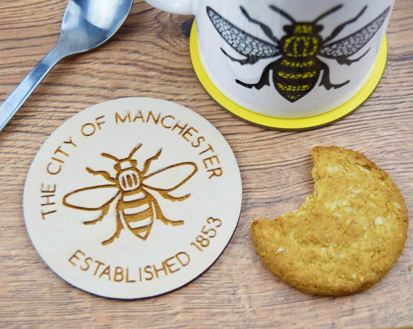 Wooden Engraved Manchester Est. Coaster - The Manchester Shop